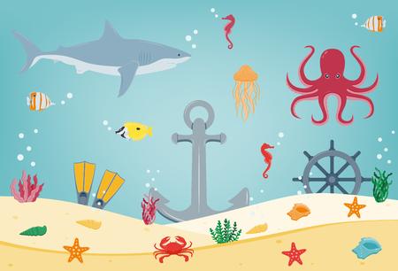 Sea icons and symbols set, Sea animals, Nautical design elements.