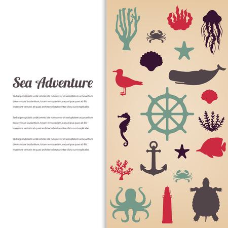 dive trip: Sea icons and symbols set, Sea animals, Nautical design elements.