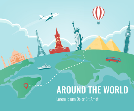 website header: Travel composition with famous world landmarks. Travel and Tourism. Vector.
