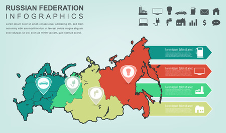 Russian Federation map with Infographic elements. Infographics layouts. Vector illustration Illustration