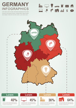 east berlin: Germany map with Infographic elements. Infographics layouts. Vector illustration Illustration