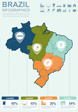 analytic: Brazil map with Infographic elements. Infographics layouts. Vector illustration