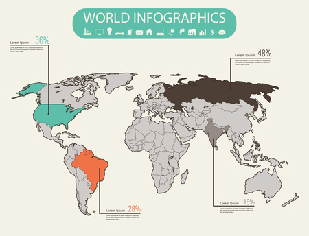 World map infographic template all countries are selectable vector world map infographic template all countries are selectable vector illustration gumiabroncs Gallery