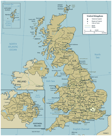 United Kingdom map with selectable territories. Vector Illustration