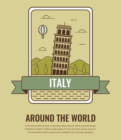 reflection: World landmarks. Italy. Travel and tourism background. Line art style. Vector