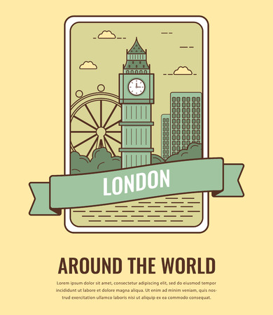 british culture: World landmarks. United Kingdom. Travel and tourism background. Line art style. Vector