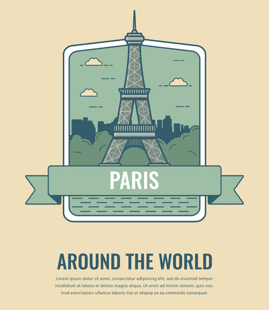 World landmarks. France. Travel and tourism background. Line art style. Vector