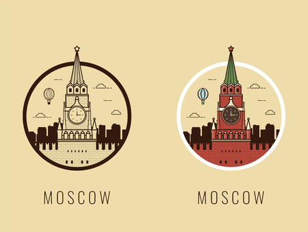 World landmarks. Russia. Travel and tourism background. Line icons. Vector
