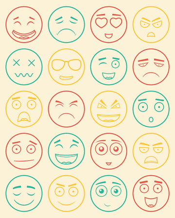 Set of outline emoticons, emoji isolated on white background. Emoticon for web site, chat, sms. Vector