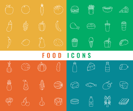 Food icons set. Fruits, Vegetables, Fast food and every day food. Outline icons style. Vector illustration