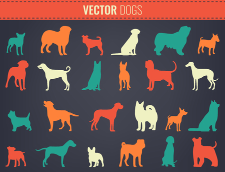 Dog breeds silhouettes. Dog icons collection. Chinese zodiac 2018. Vector illustration Illustration
