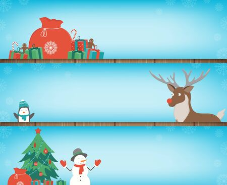 Christmas banners set with decoration elements. Santa Claus, Christmas Tree, Gift boxes and other christmas elements. Vector illustration