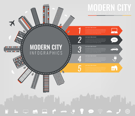 City infographic elements. Modern city infographics. Smart city. Concept website template. Vector