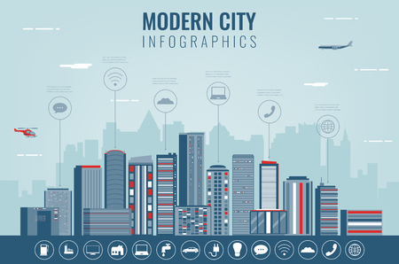 Urban landscape with infographic elements.