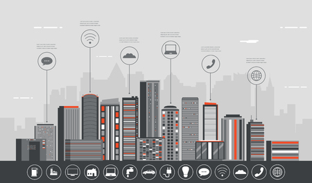 Urban landscape with infographic elements. Modern city. Smart city. Concept website template. Vector