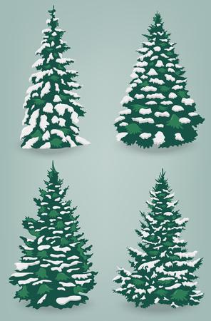 Árboles de la nieve fijados en fondo aislado. Árbol de Navidad. Vector Ilustración de vector