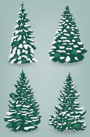 Snow trees set on isolated background. Christmas tree. Vector