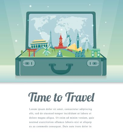 Travel composition with famous world landmarks. Travel and Tourism. Vector Çizim