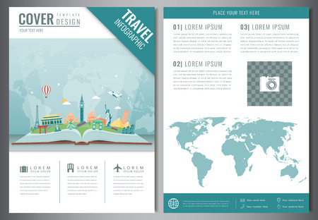 Travel flyer design with famous world landmarks. Brochure headline for Travel and Tourism. Vector