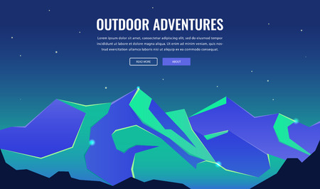 Landscape with mountain peaks. Winter sport vacation and outdoor recreation. Concept website template. Vector 矢量图像