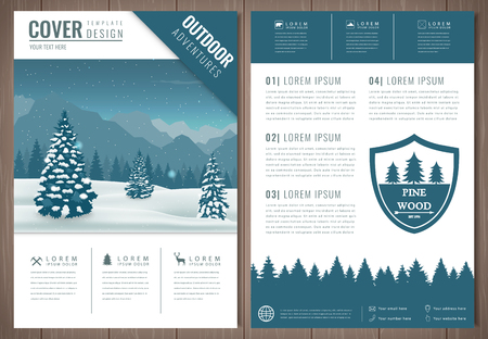 Outdoors flyer design with mountains landscape. Brochure headline for Sport and Recreation. Vector