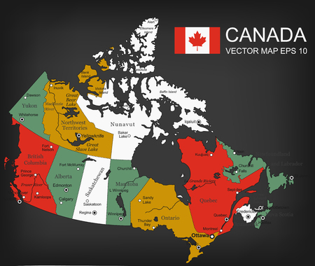 Canada map with provinces. All territories are selectable. Vector illustration.