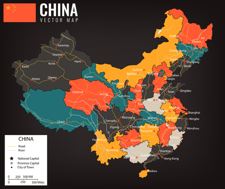 China map with provinces. All territories are selectable. Vector illustration.