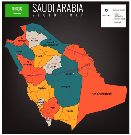Saudi Arabia map with selectable territories Vector
