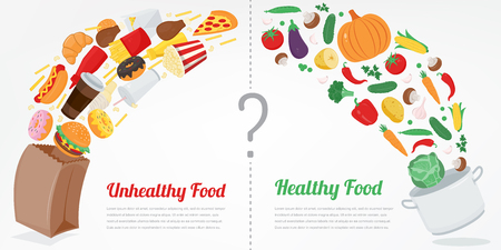 Healthy Lifestyle concept. Choose what you eat. Vector 向量圖像