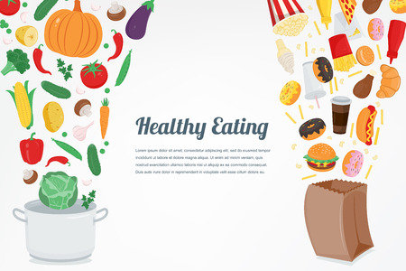 Healthy Lifestyle concept. Choose what you eat. Vector illustration 向量圖像