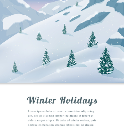 Landscape with mountain peaks. Winter sport vacation and outdoor recreation. Vector illustration