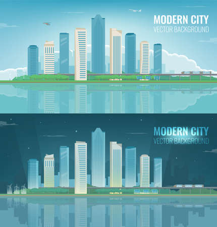 Day and night urban landscape. Modern city. Building architecture, cityscape town. Vector