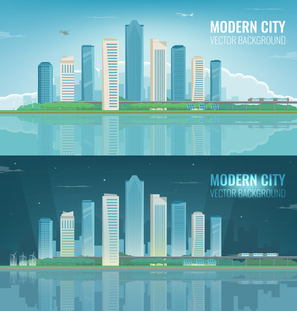 Day and night urban landscape modern city. Building architecture, cityscape town vector illustration. Illustration