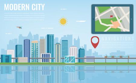 City smart navigation, tablet with city location. Modern city background vector illustration.
