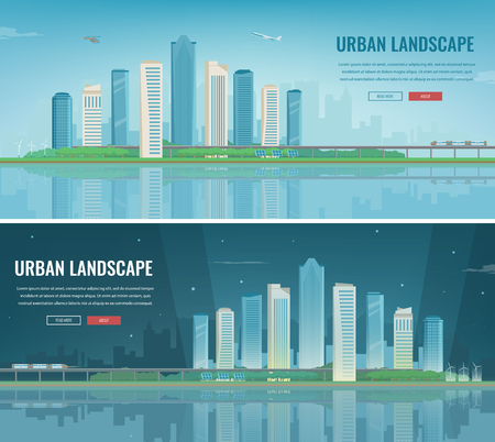 Day and night urban landscape, modern city. Building architecture, cityscape town concept website template vector.