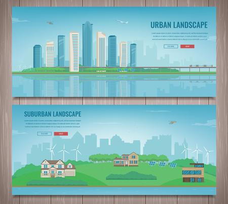 City landscape and suburban landscape. Building architecture, cityscape town. Illustration
