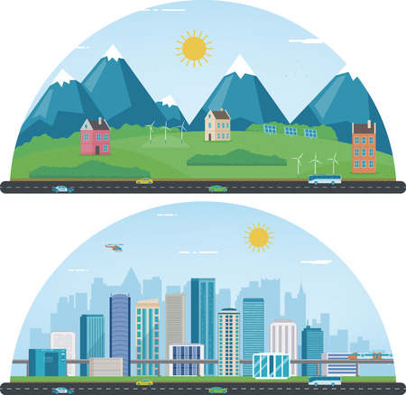 City landscape and suburban landscape. Building architecture, cityscape town. Modern city and suburb. Vector