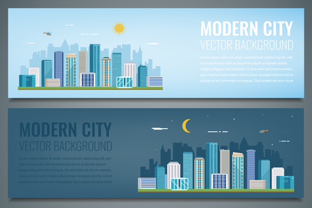 Two city banners. Day and night urban landscape. Modern city.
