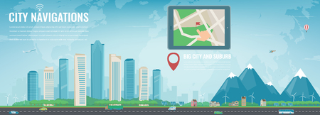 Smart city navigation. Big city and suburb. Tablet with city location. Modern city background.