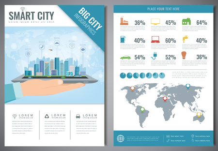 Smart city brochure with infographic elements. Template of magazine, poster, book cover, banner, flyer. Big city life concept. Vector