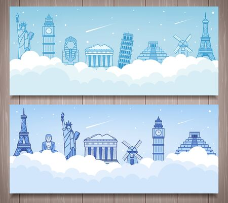 Travel composition with famous world landmarks. Travel and Tourism. Vector Stock Illustratie