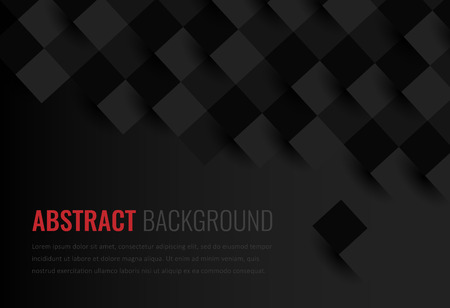 Black background. Abstract geometric template for business. Background texture with square and triangle. Vector Stock Illustratie