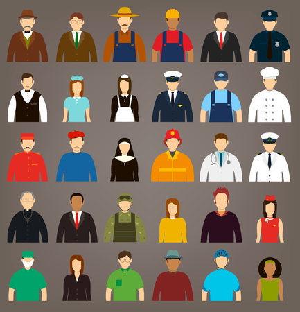 People of different occupations. Professions icons set. Flat design. Vector illustration 免版税图像 - 109651878