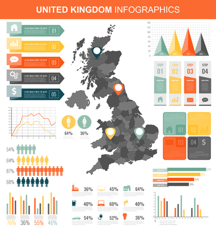 United Kingdom with Infographic elements. Infographics layouts. Vector