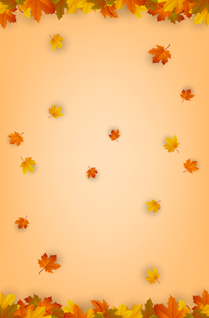 Autumn background with falling leaves. Red, yellow and orange autumn leaves. Vector illustration