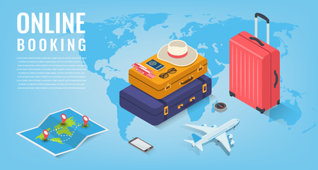 Travel equipment in Isometric style. Travel and tourism concept. Vector illustration