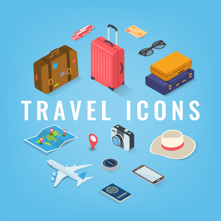 Travel icons in Isometric style. Travel and tourism concept. Vector illustration Ilustrace