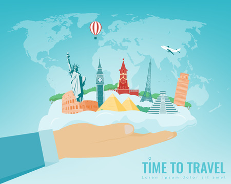Travel composition with famous world landmarks. Travel and Tourism concept. Vector illustration