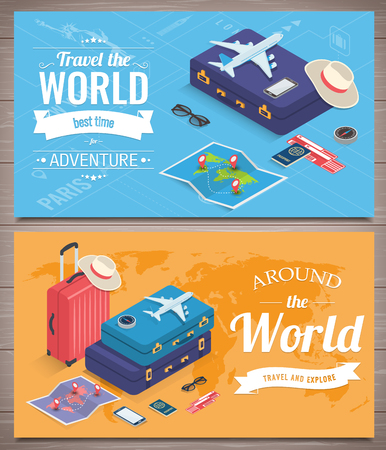 Travel banners in Isometric style. Travel and tourism concept. Vector illustration 版權商用圖片 - 124753615