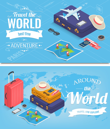 Travel banners in Isometric style. Travel and tourism concept. Vector illustration 版權商用圖片 - 124753616